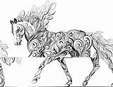 Coloring Horse Pages Zentangle Unicorn Colouring Adult Adults Printable Animal Horses Therapy Sheets Simple Ausmalbilder Books Patterns Background Cat Drawings sketch template