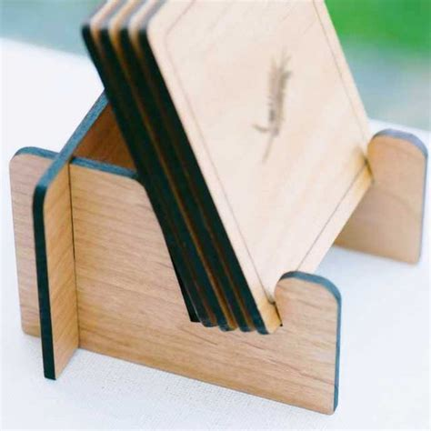 coaster holder stand laser cut wood