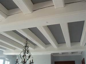 plafond et poutres en bois som With peindre sur du platre ancien