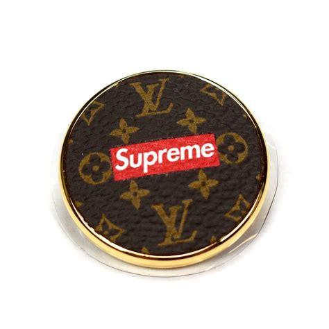louis vuitton  supreme lv monogram red box logo city badge pin set eluxive