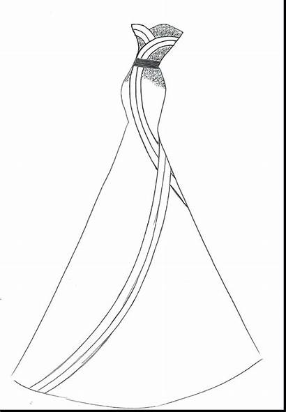 Coloring Pages Dresses Barbie Evening Printable Getcolorings
