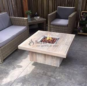 Gartentisch Mit Feuerstelle : feuertisch holz lounge modell quadratisch mit gaskamin terras co bv ~ Whattoseeinmadrid.com Haus und Dekorationen