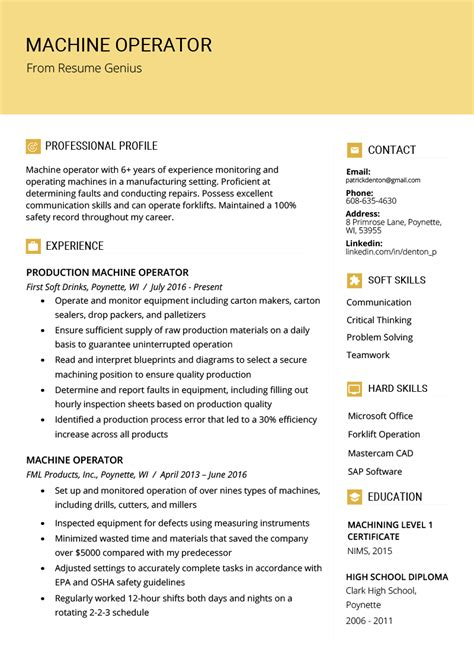 machine operator resume sample writing tips resume