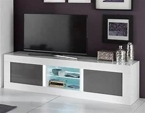 Meuble Tv Banc : meuble tv plasma neos blanc gris blanc blanc gris l 180 x h 50 x p 48 ~ Teatrodelosmanantiales.com Idées de Décoration