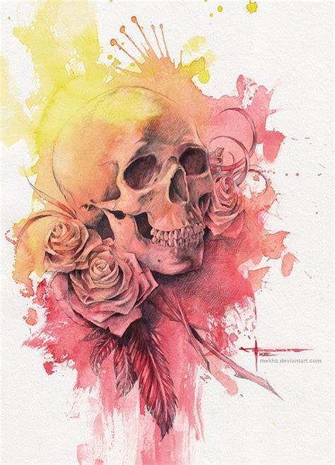 Beautiful Watercolor Paintings Mekhz Skull Art