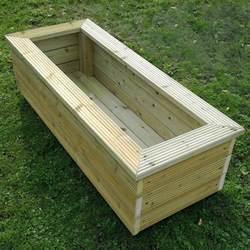 rectangular wooden planter 120cm x 40cm gardener