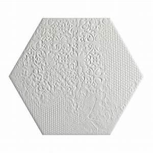 Carrelage Hexagonal Blanc : carrelage d coratif hexagonal blanc avec motifs en relief ~ Premium-room.com Idées de Décoration