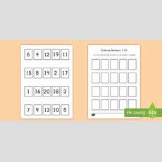 Ordering Numbers Game 1 20 Worksheet  Activity Sheet Order