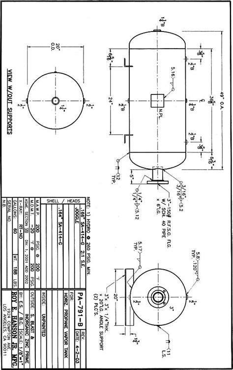 PA-791-B - Hanson Tank Asme Code Pressure Vessel Mfg