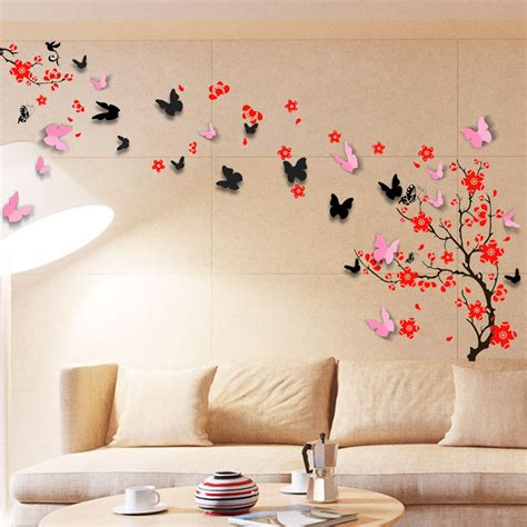 wall sticker mural decal paper decoration blossom flower 3d butterfly family 700755180018 ebay