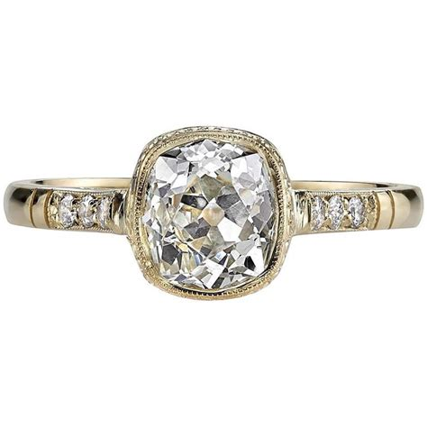 cushion cut diamond yellow gold engagement ring for sale