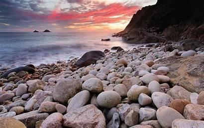 Ocean Sea Stone Rock Shore Sunrise Sunset
