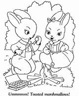 Coloring Easter Pages Bunny Campfire Sheets Sheet Rabbit Bunnies Printable Hard Colouring Activity Eggs Detail Roasting Marshmallows Rabbits Cartoon Adult sketch template