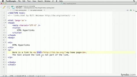 Html Tutorial How Create Hyperlink Lynda Youtube