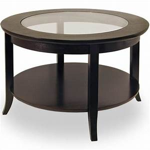 Genoa Round Wood Coffee Table with Glass Top in Dark