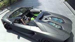 Matte Black Lamborghini Aventador LP700-4 Roadster Start ...