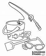 Coloring Fishing Rod Bucket Sunglasses Books Topcoloringpages Popular sketch template