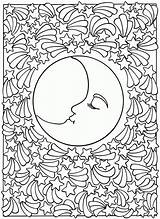 Coloring Sun Pages Adult Moon Adults Popular sketch template