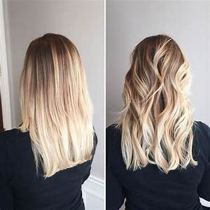Balayage Ombré Blond : straight vs curly blonde balayage ombr gives this blonde ~ Carolinahurricanesstore.com Idées de Décoration