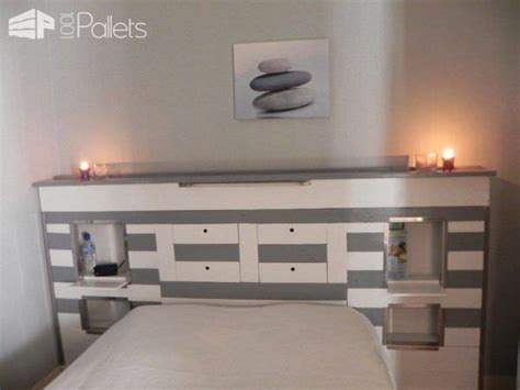 tete de lit en palette pallets bed headboard  pallets