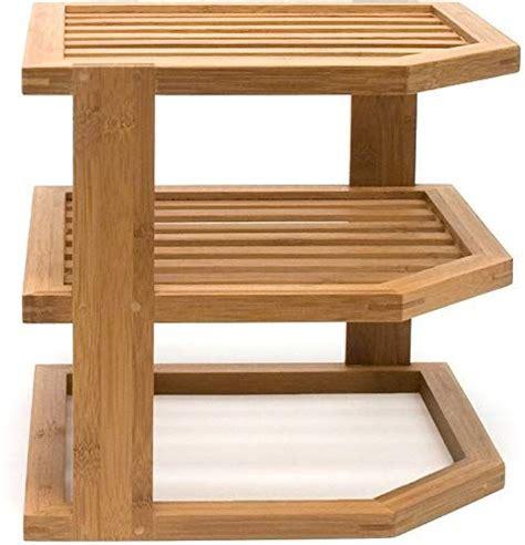 lipper international  bamboo wood  tier corner kitchen storage shelf
