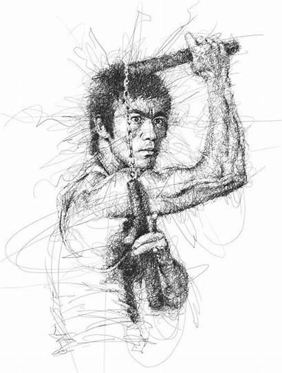 Bruce Lee Scribble Low Vince Pencil Drawings