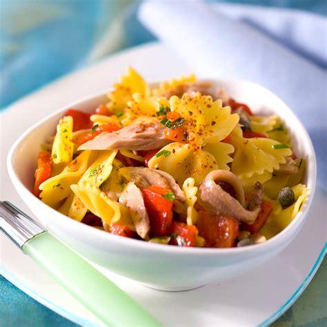 recette de cuisine au feminin salade de pâtes au poivron et au thon facile et pas cher