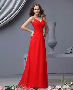 red bridesmaid dresses dressed up girl With long red dress for wedding
