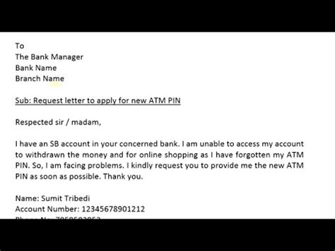 write  letter  bank manager  request