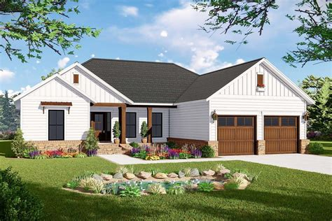 plan mm  american ranch home plan  split bed layout   tiny homes ranch