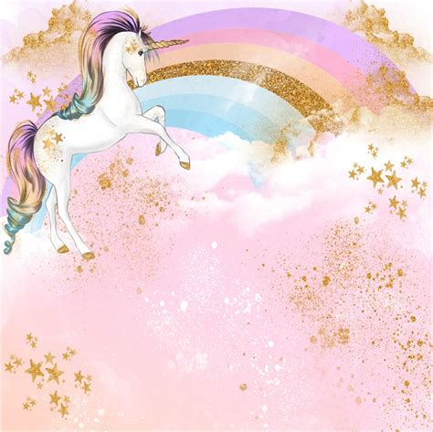 8x8FT Pink Clouds Rainbow Sky Gold Coins Unicorn Baby