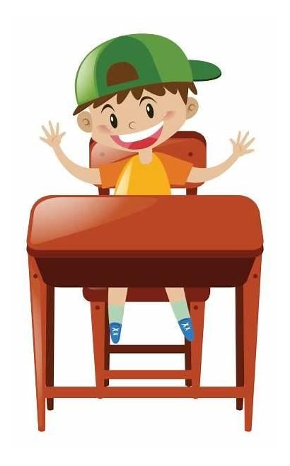 Desk Sitting Boy Clipart Clip Student Vector