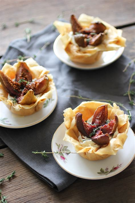 balsamic roasted figs labneh phyllo tarts