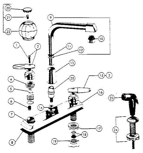 Bathroom Faucet Parts Names by Two Handle Washerless High Spout Kitchen Faucets Diagram