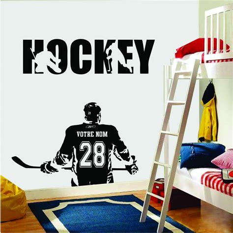 chambre de gar n autocollant mural joueur de hockey