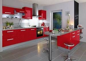 Cuisine Rouge Pour Dco Moderne Modle Carat Lapeyre