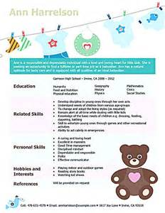 babysitting bio resume sle resume is going to help anyone who is interested in becoming a part time nanny a