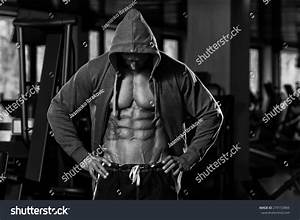 Portrait Physically Fit Man Hoodie Modern Stock Photo ...