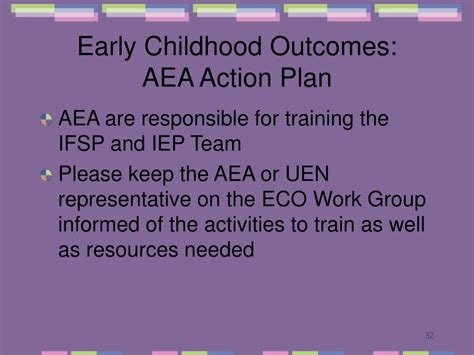 ppt early childhood outcomes powerpoint presentation 193 | early childhood outcomes aea action plan l