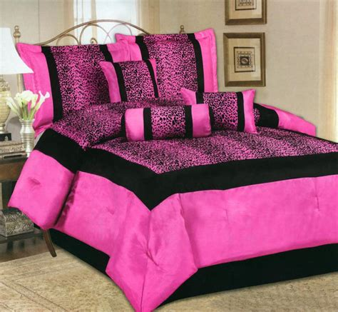 7 piece king size comforter set satin leopard hot pink