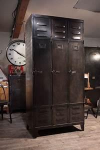 Meuble Industriel Vintage : meuble de metier industriel ancien vestiaire en metal 1940 deco loft masculine industrial ~ Nature-et-papiers.com Idées de Décoration