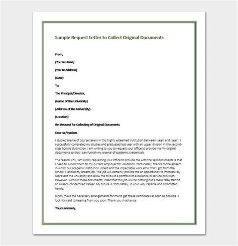 request letter  principal  original certificates