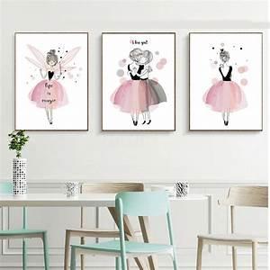 Kawaii, Girl, Nordic, Style, Cartoon, Canvas, Poster, Wall, Art, Prints, Kids, Room, Decor