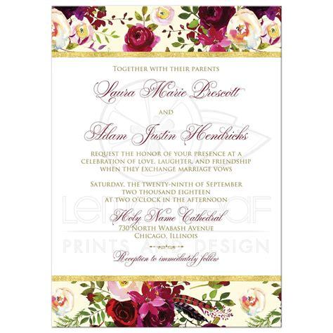 beautiful burgundy watercolor florals wedding invitation