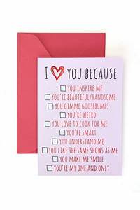 U0026 39 I Love You Because U0026 39  Valentine U0026 39 S Day Card