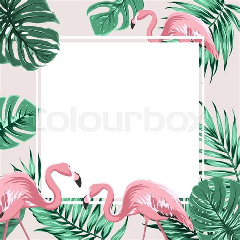 Tropical Poster Template by Exotic Tropical Border Frame Template With Bright Green
