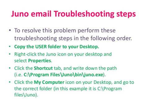 Juno Email Troubleshooting Steps