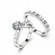 Stainless Steel Engagement Wedding Bridal Cz Stones Set