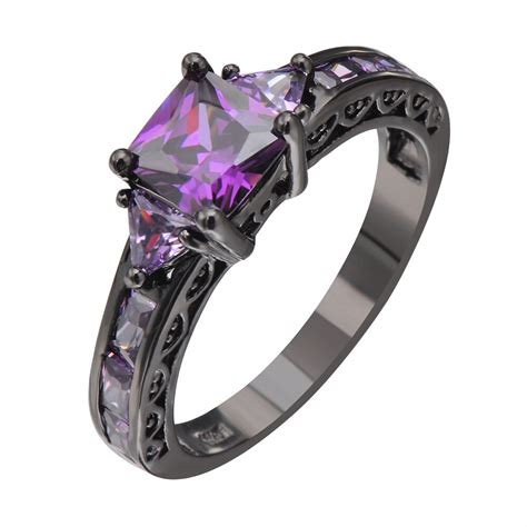 wedding ring shop sell gold princes cut purple amethyst engagement band ring 10kt black gold filled size5 11 ebay