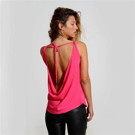 backless blouse neon pink top backless shirt blouse